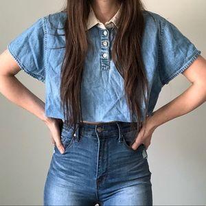 Vintage Crop Top Cutoff Taw Hem Denim Shirt Top J